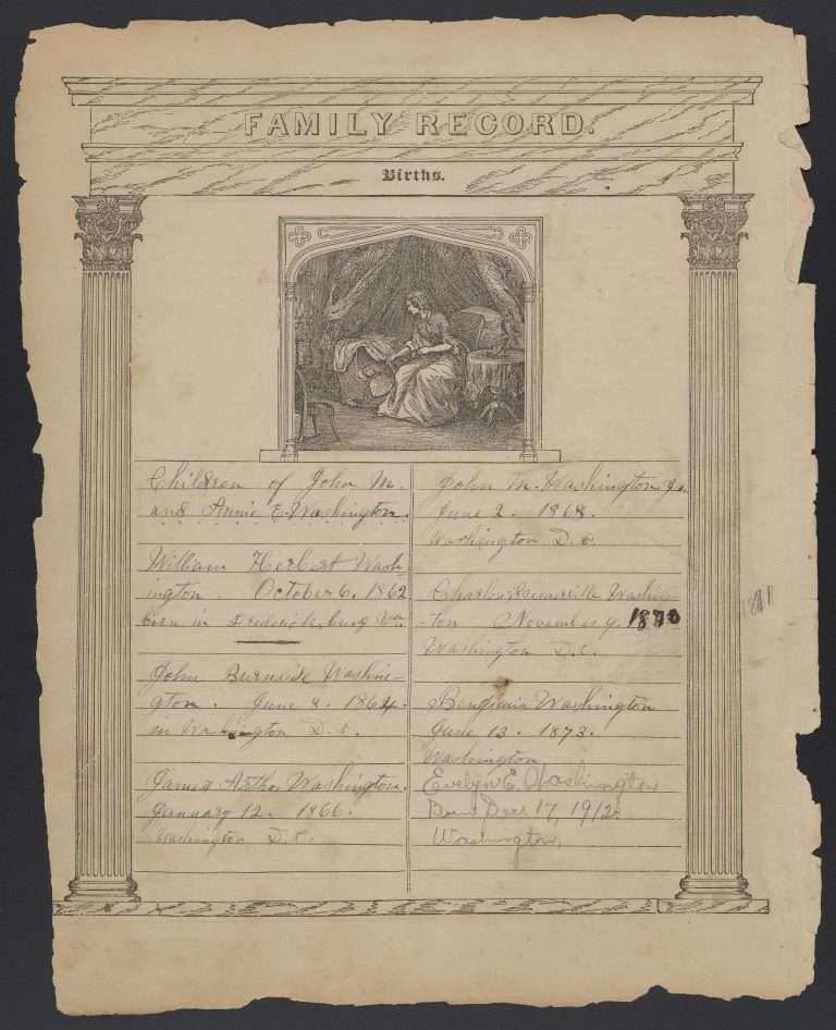 Washington Family Birth Records