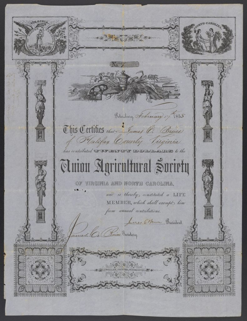 Union Agricultural Society Certificate