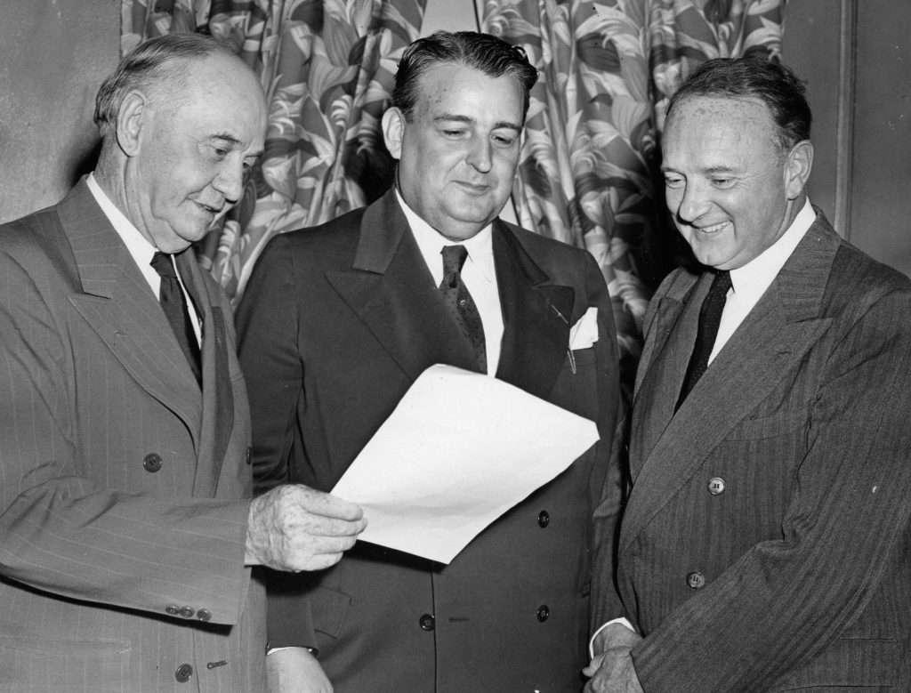 Democratic Governor Tuck with Democratic Senators Harry F. Byrd and Thomas G. Burch