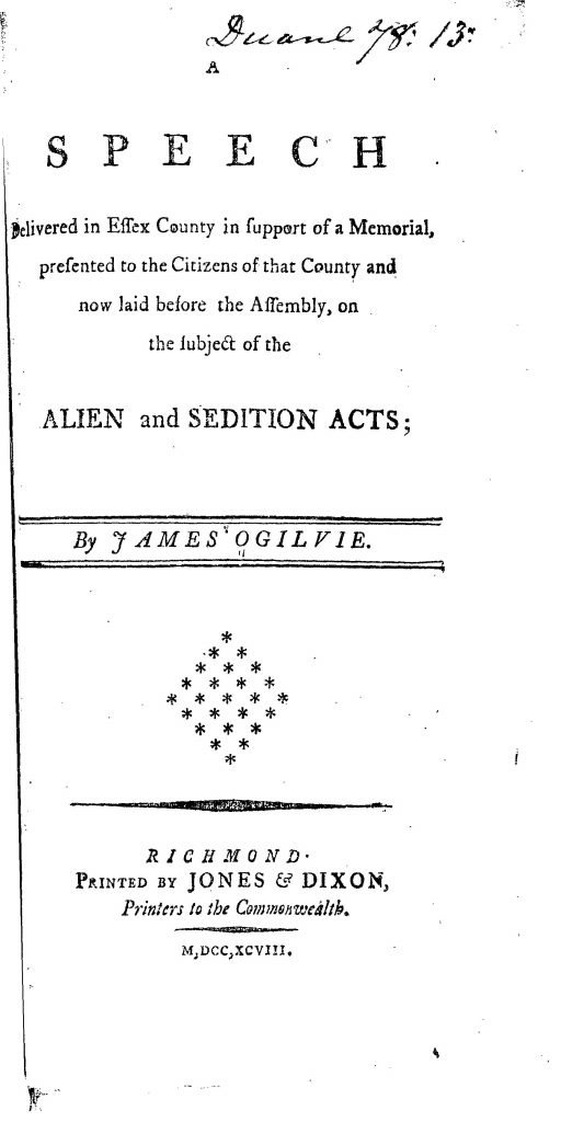 A Speech against the Alien and Sedition Acts