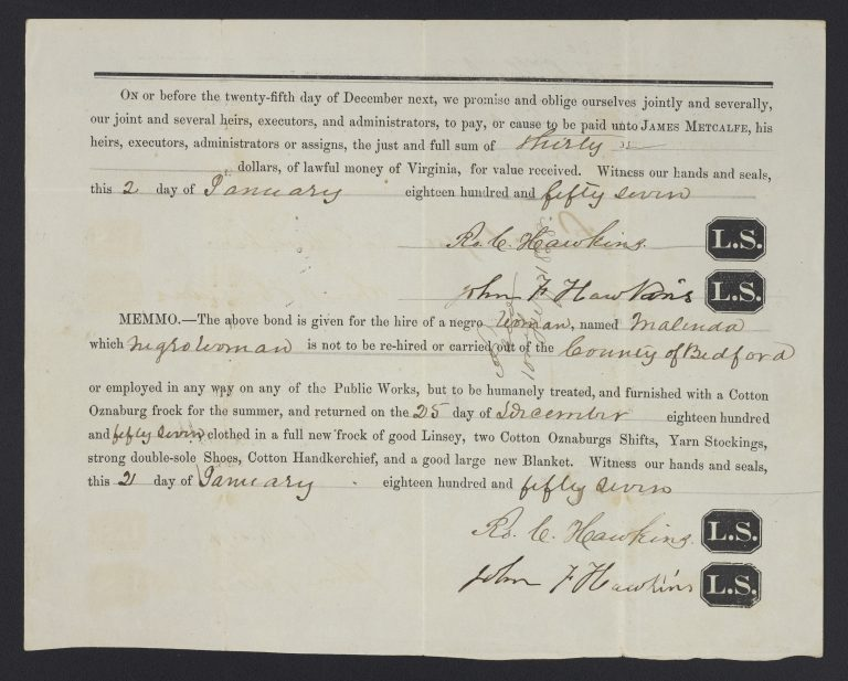 Hiring Out an Enslaved Woman
