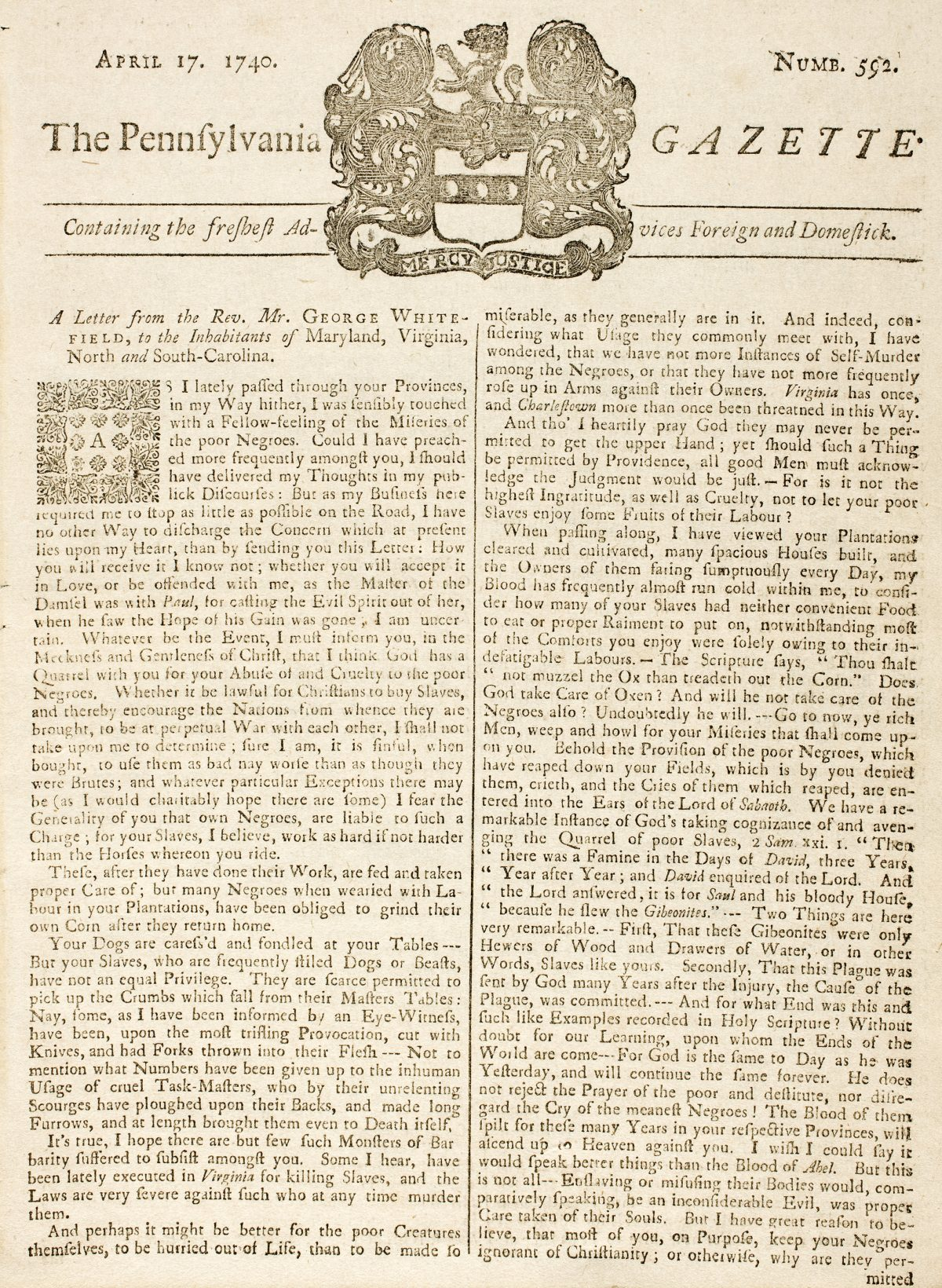 A Letter from the Rev. Mr. George Whitefield