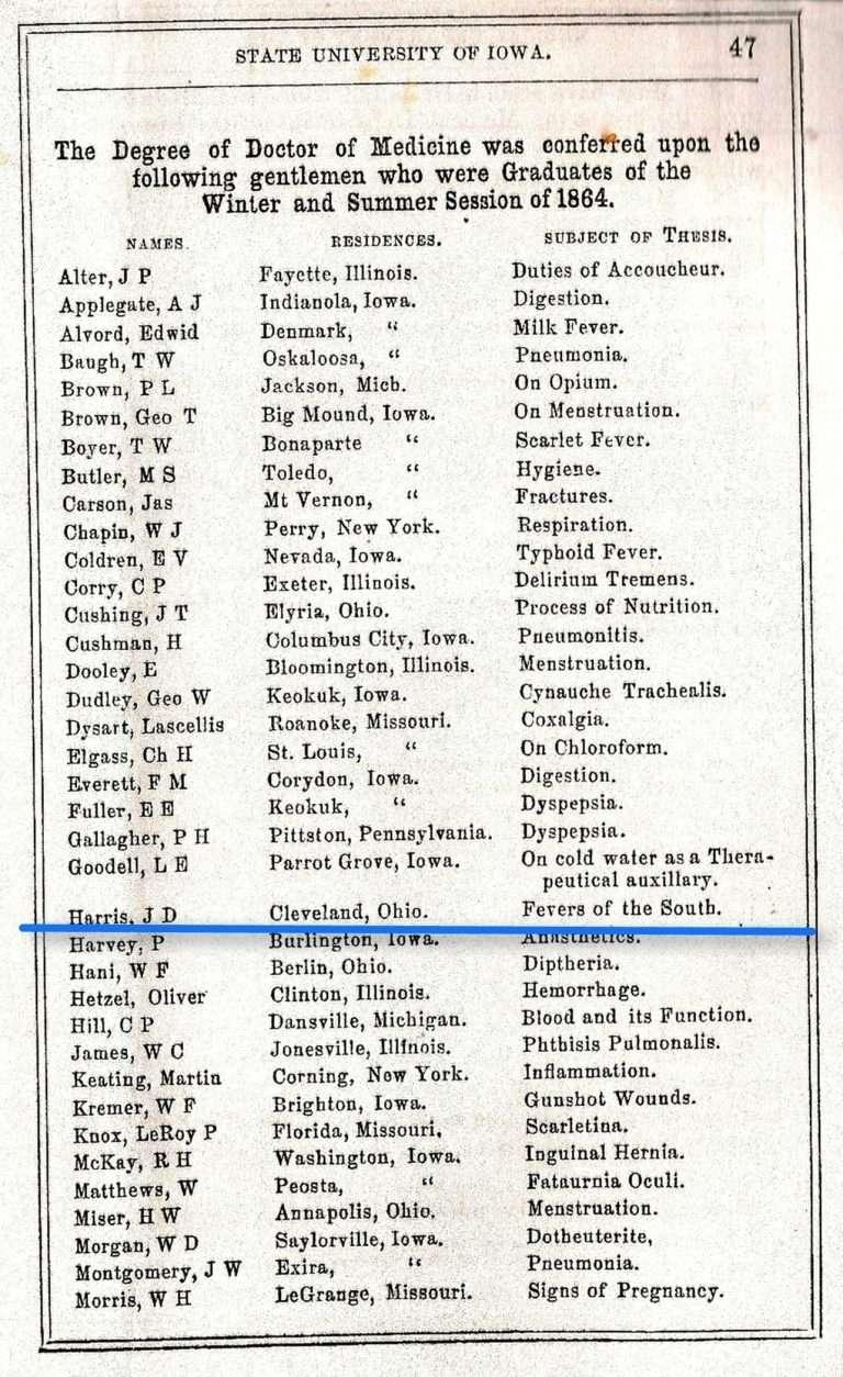 J. D. Harris's Medical Thesis