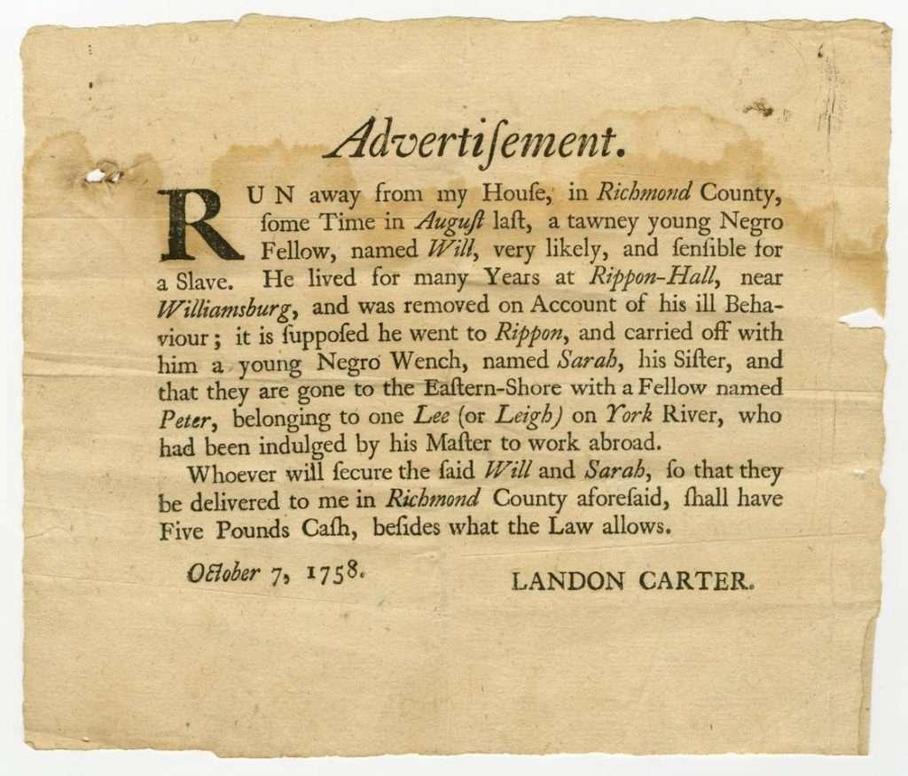 Advertisement for Runaway Slaves