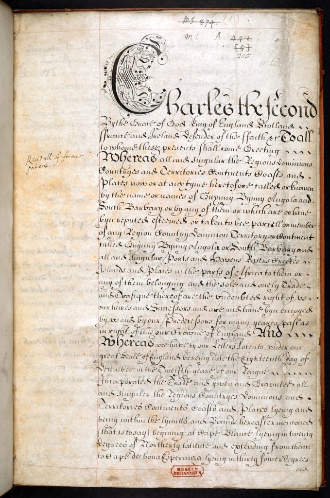 A Charter granted to the Company of Royall Adventurers of England Trading into Africa