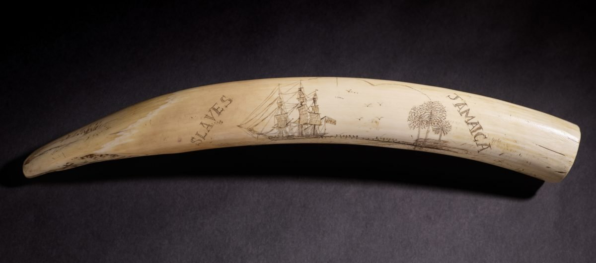 Scrimshaw with Slavery Imagery