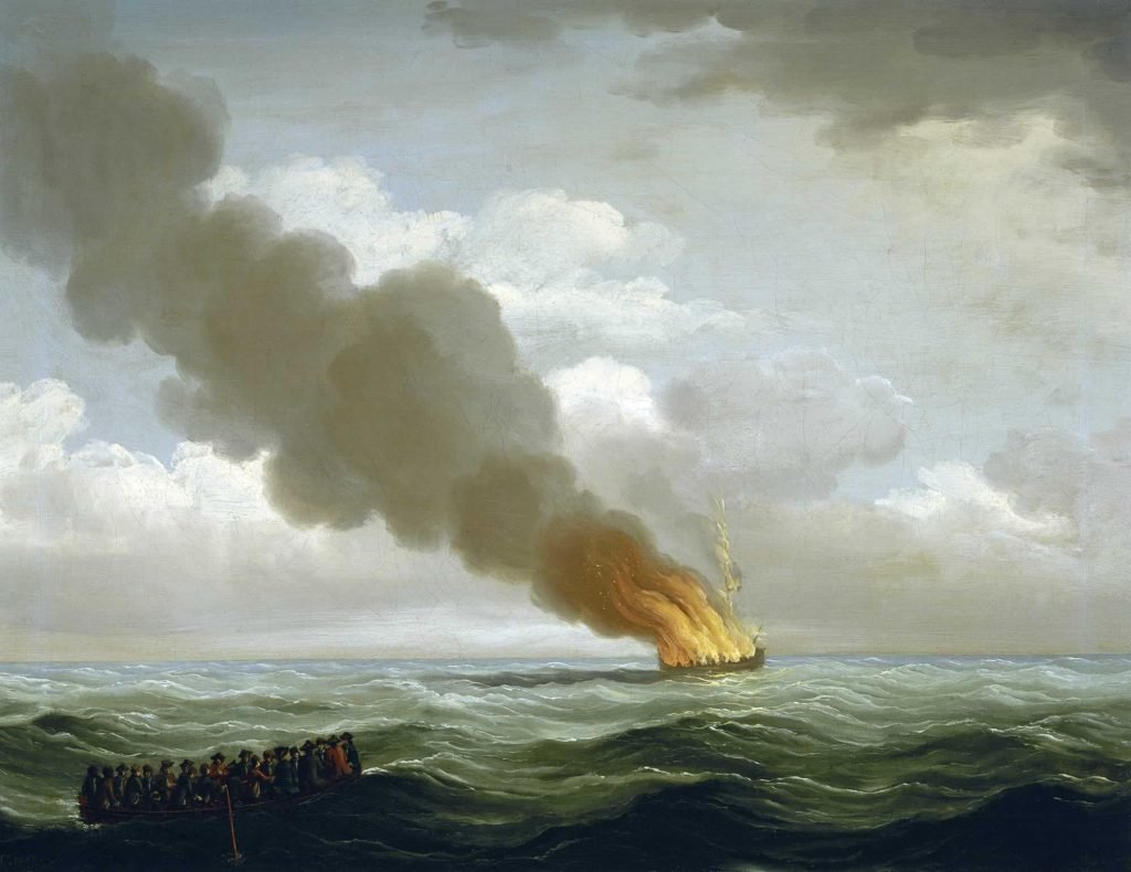The 'Luxborough Galley' burnt nearly to the water