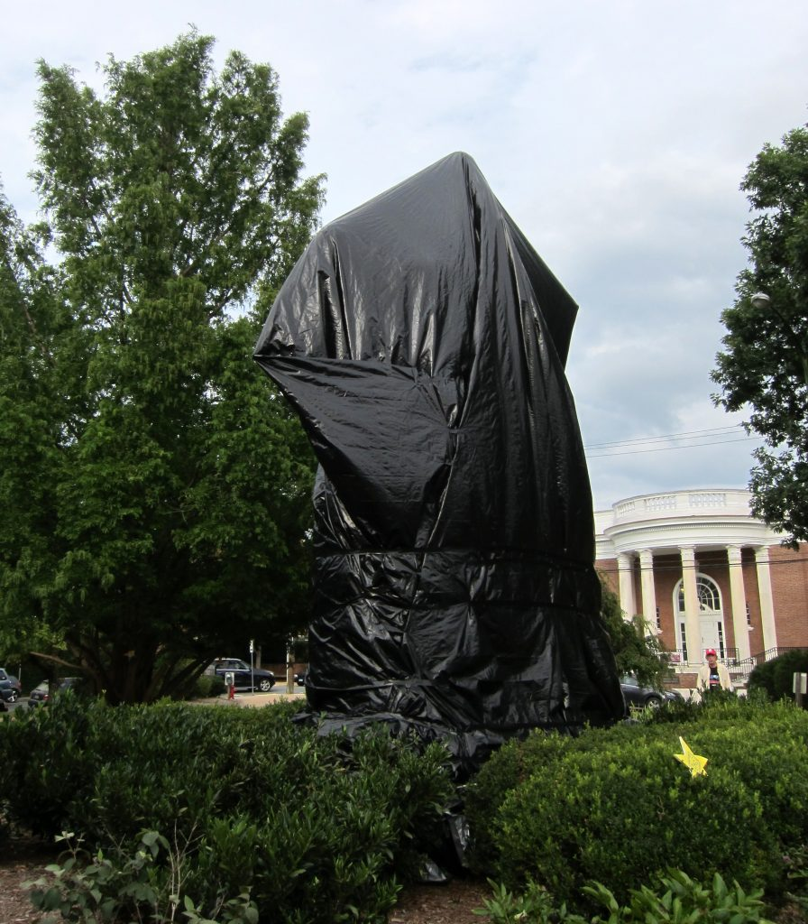 Lee Sculpture Covered in Tarp