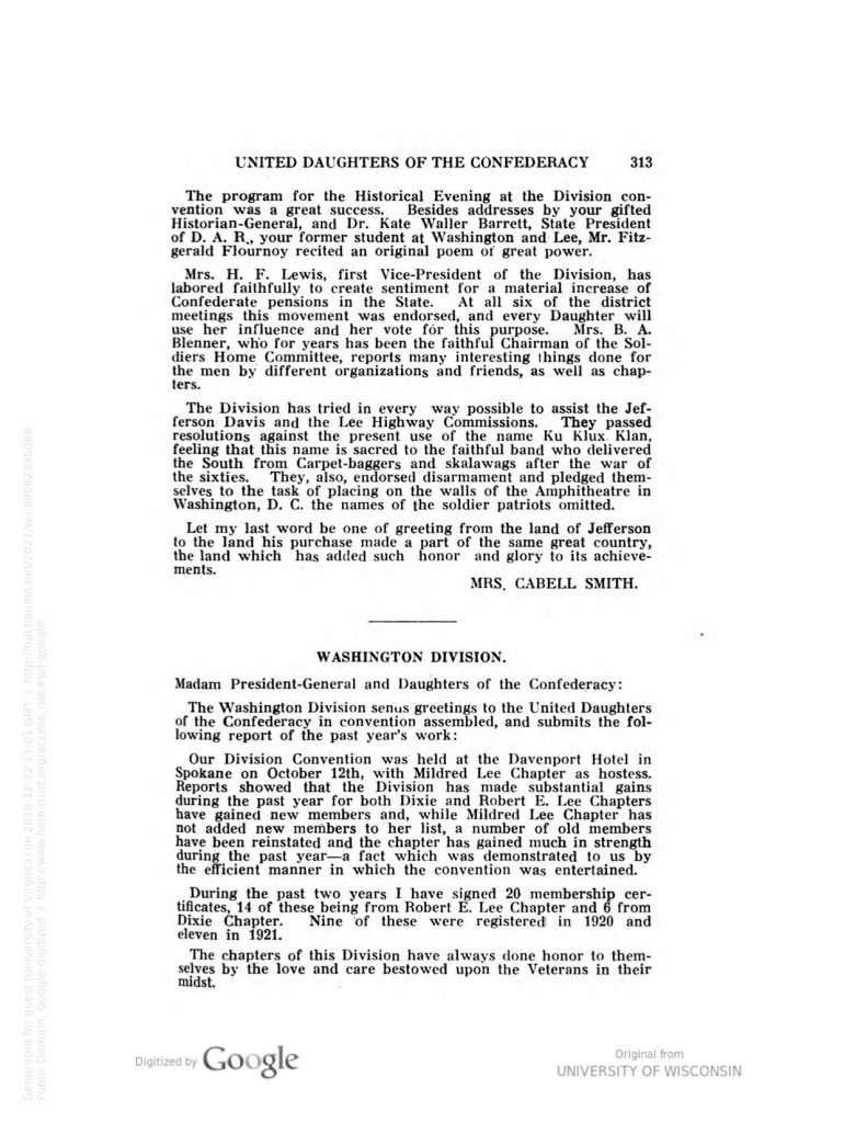 Minutes of the Twenty-Eighth Annual Convention of the United Daughters of the Confederacy