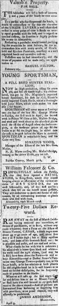 Advertisements from the Columbian Mirror and Alexandria Gazette (April 14