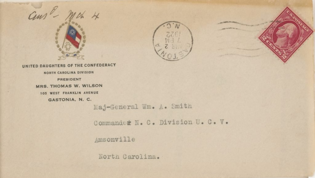 United Daughters of the Confederacy Correspondence