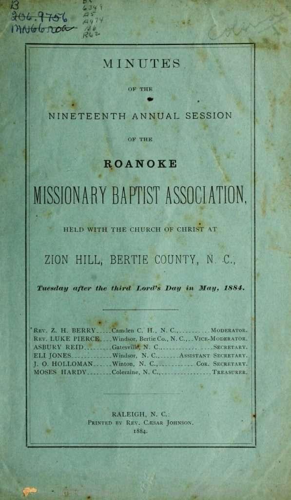 Roanoke Missionary Baptist Association Minutes