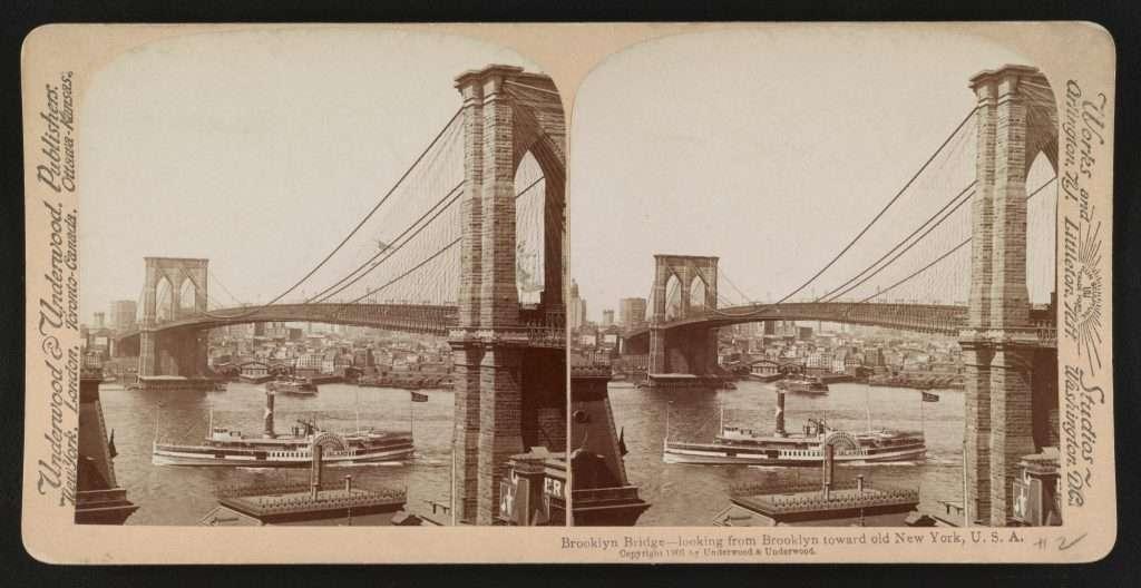 Brooklyn Bridge—looking from Brooklyn toward old New York