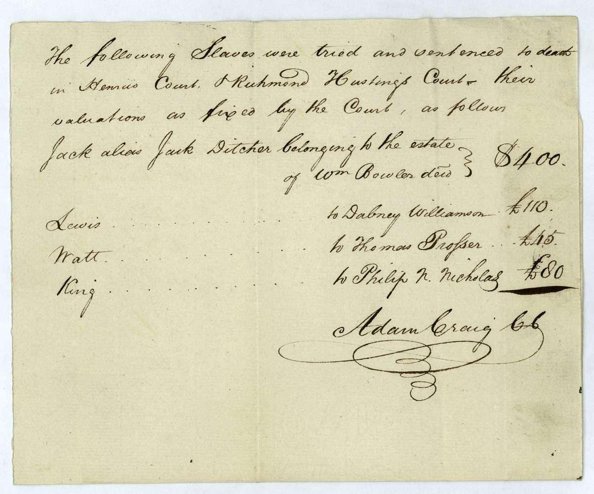 Slaves Sentenced to Death