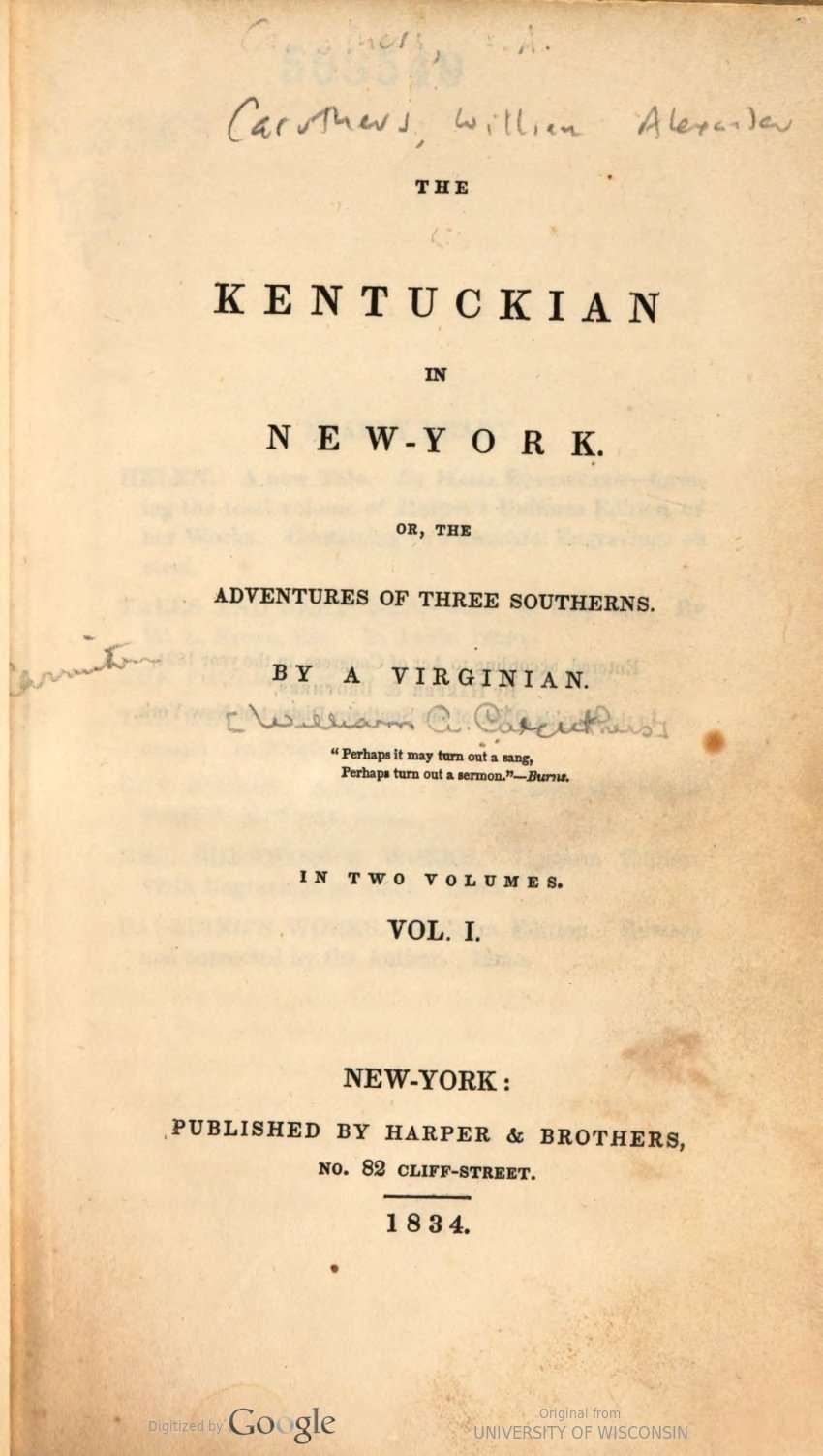 The Kentuckian in New-York.