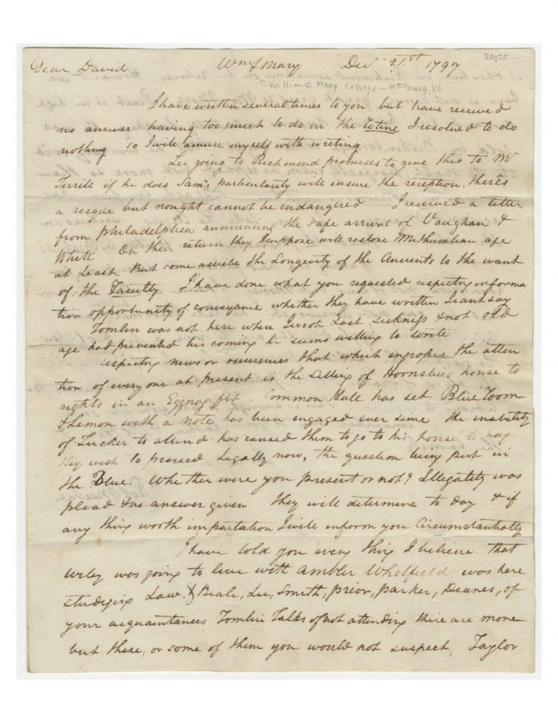Letter from Robert Michie to David Watson (December 21