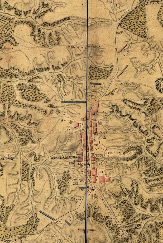 Carte des Environs de Williamsburg en Virginie