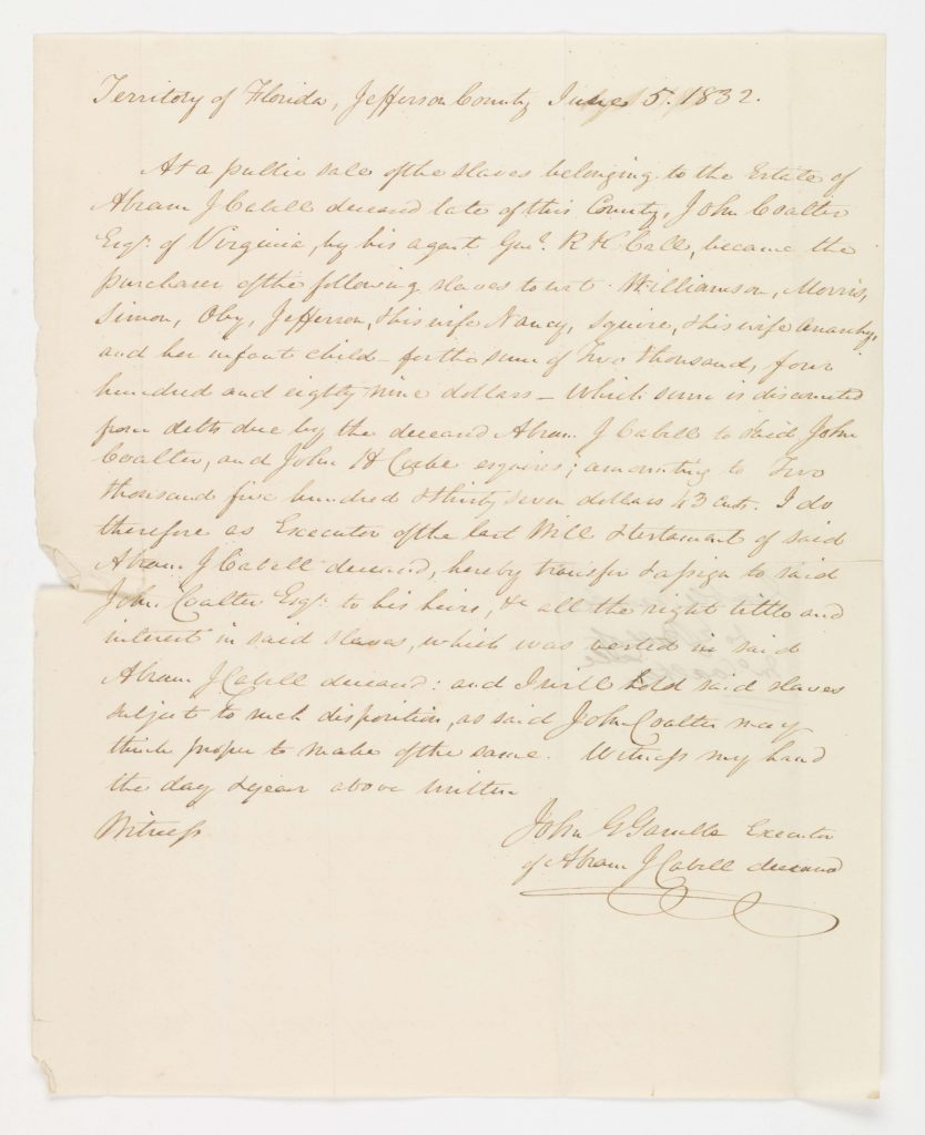 Affidavit Concerning a Sale of Enslaved People