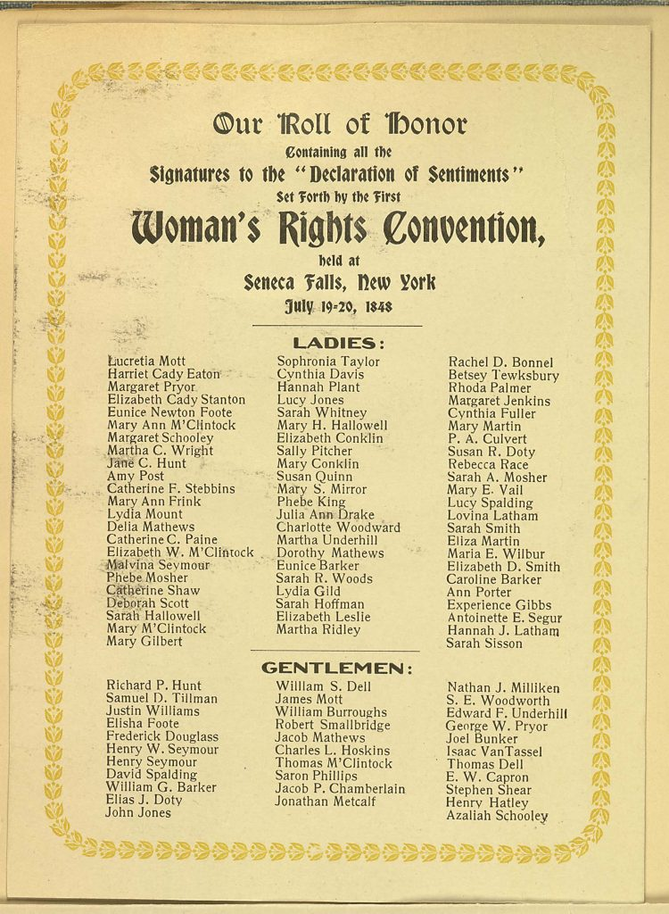 Signators of the Declaration of Sentiments Produced at the First Woman's Rights Convention