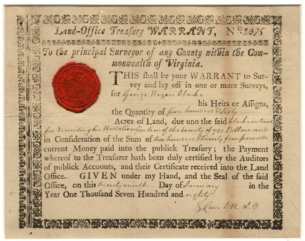 Land Warrant for George Rogers Clark