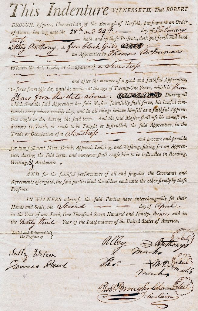 Indenture for a Free Black Woman