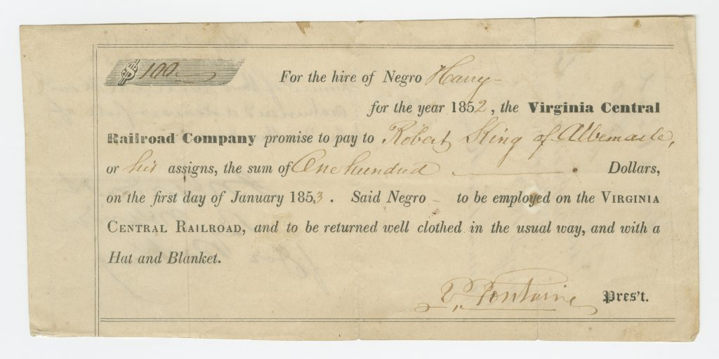 Agreement for the labor of an enslaved man hired out to work on the railroad