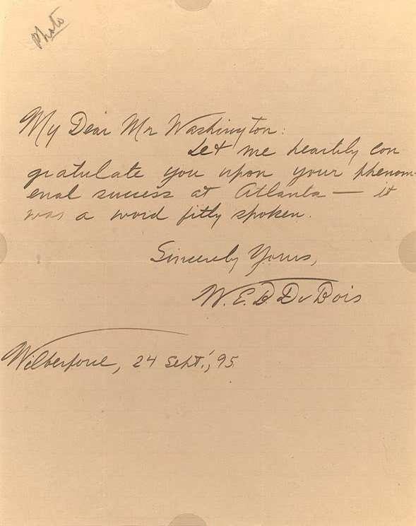Letter from W.E.B. DuBois to Booker T. Washington