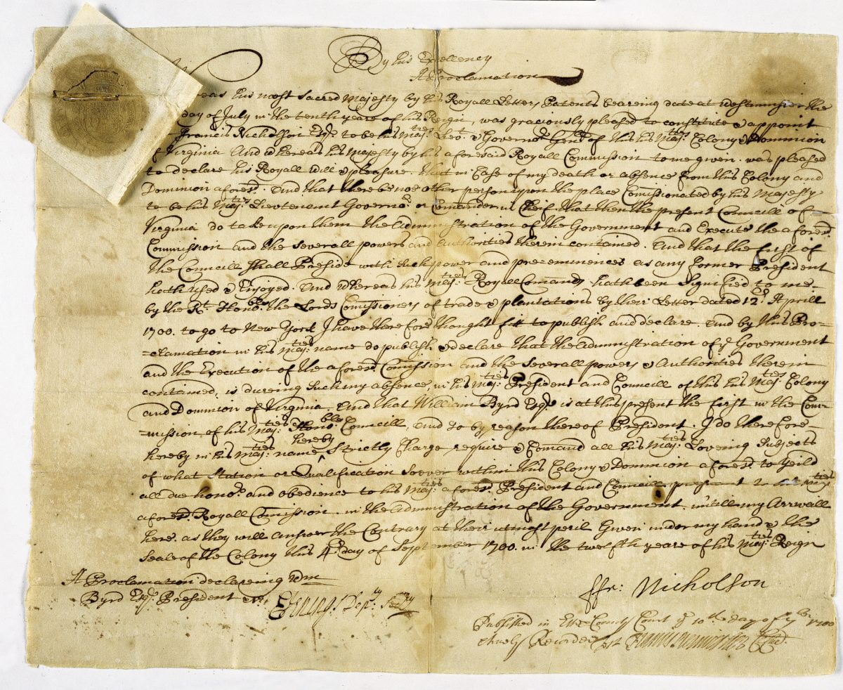 Proclamation from 1700