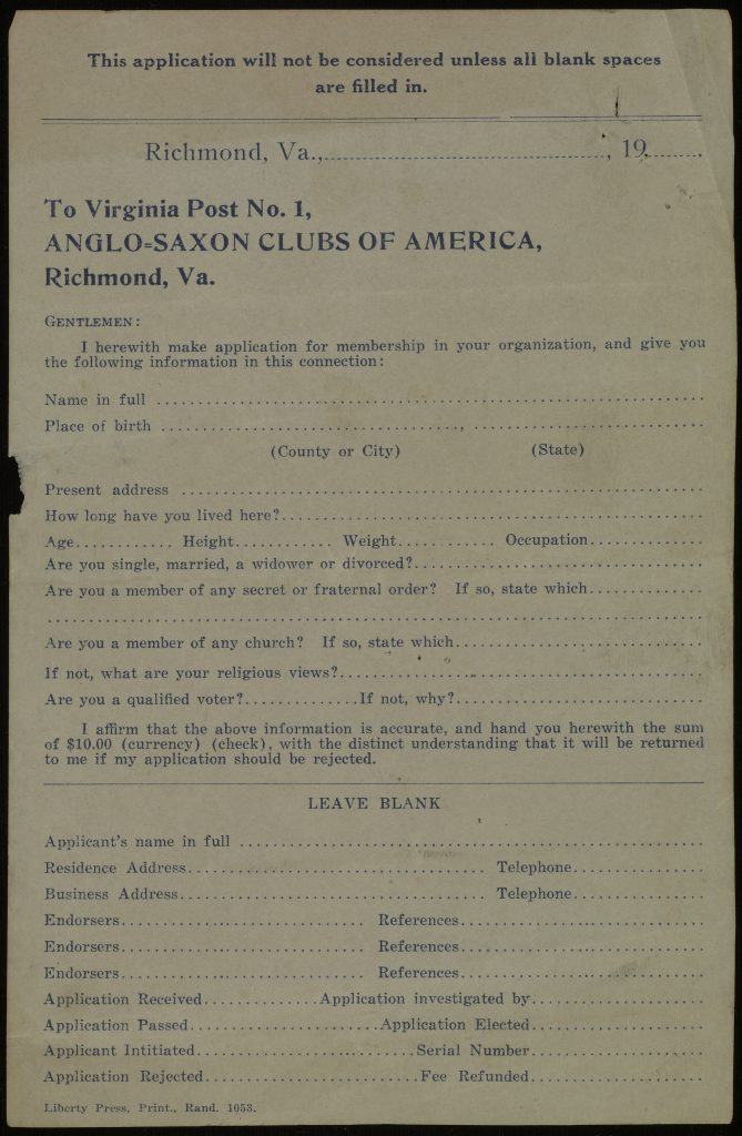 Anglo-Saxon Clubs of America Application