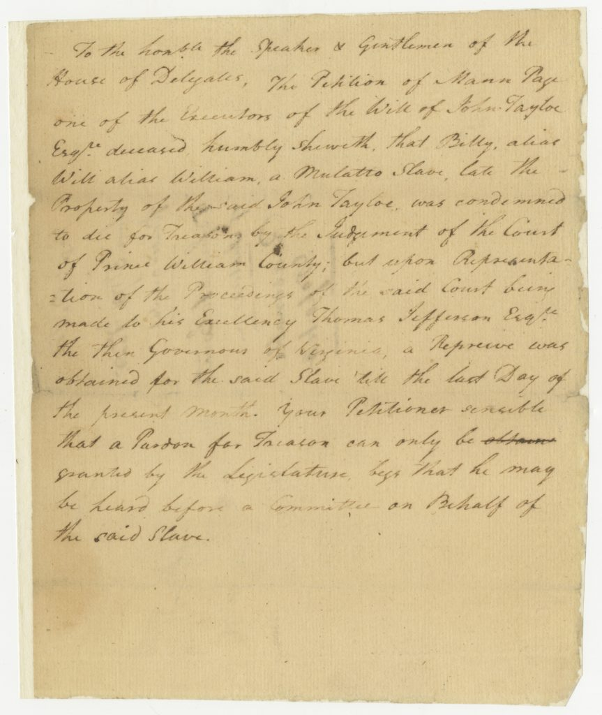 Petition Concerning the Slave Billy