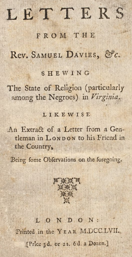 Letters from the Rev. Samuel Davies