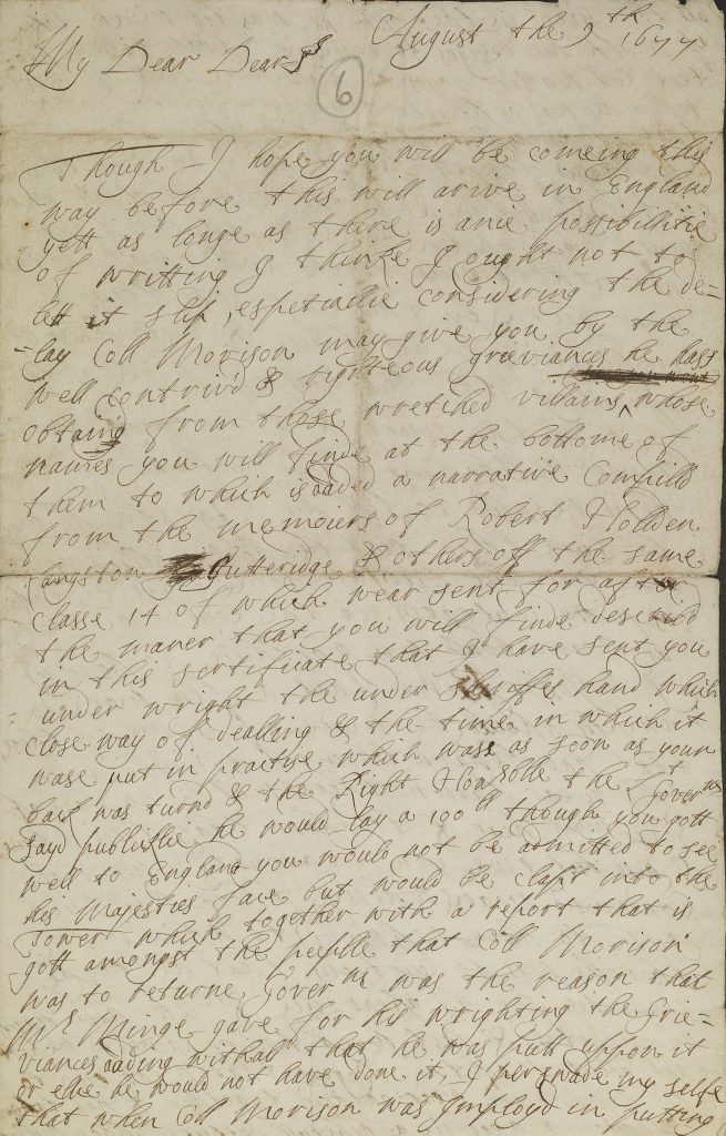 Letter from Lady Berkeley
