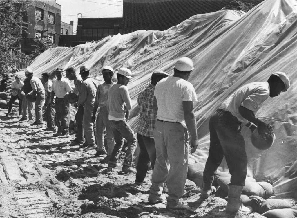 Workmen Prepare Richmond for Hurricane Camille