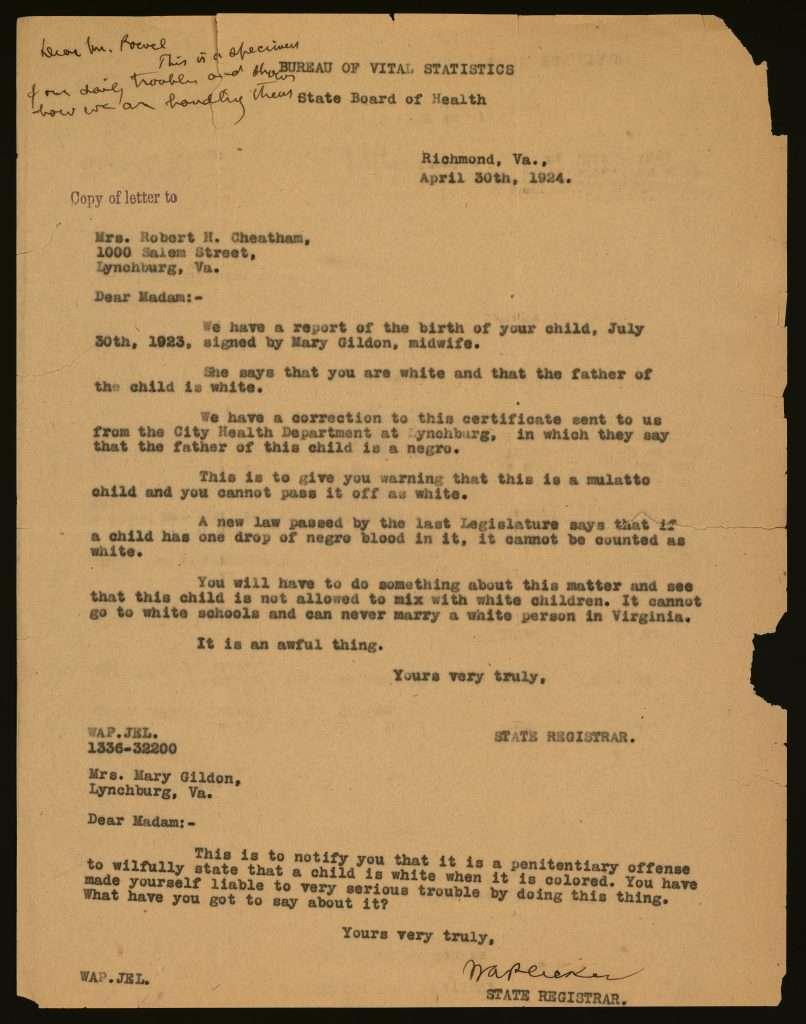 Bureau of Vital Statistics letter from Walter A. Plecker