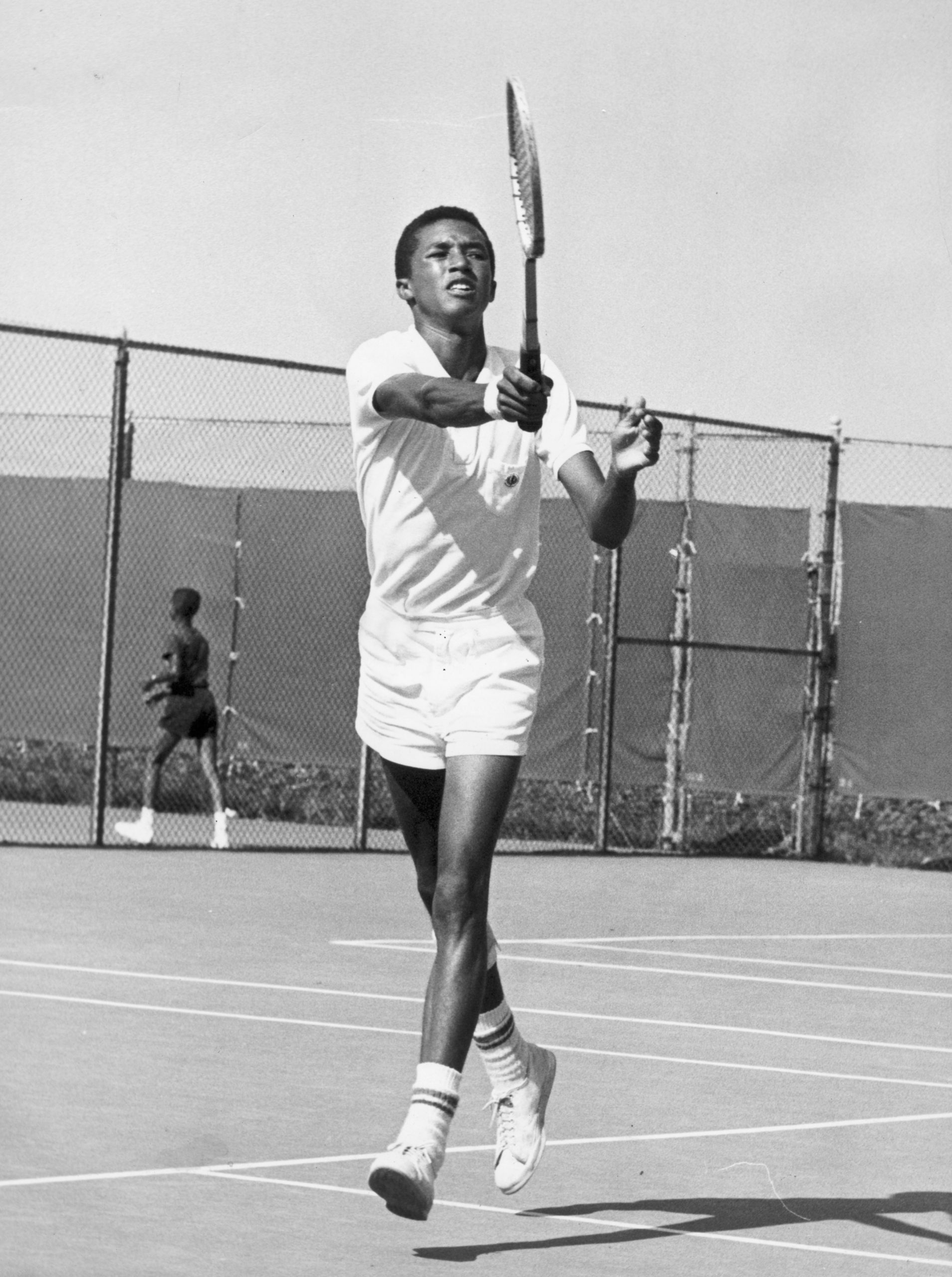 Arthur Ashe Playing Tennis