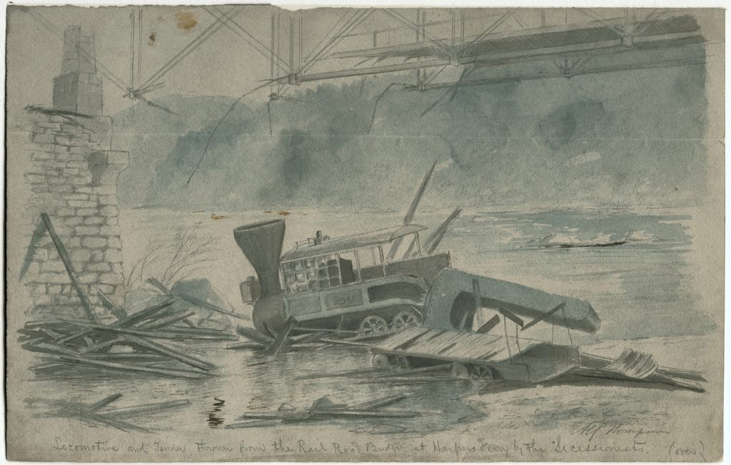 Locomotive and Tender thrown from the Rail Road Bridge at Harpers Ferry by the Secessionists.