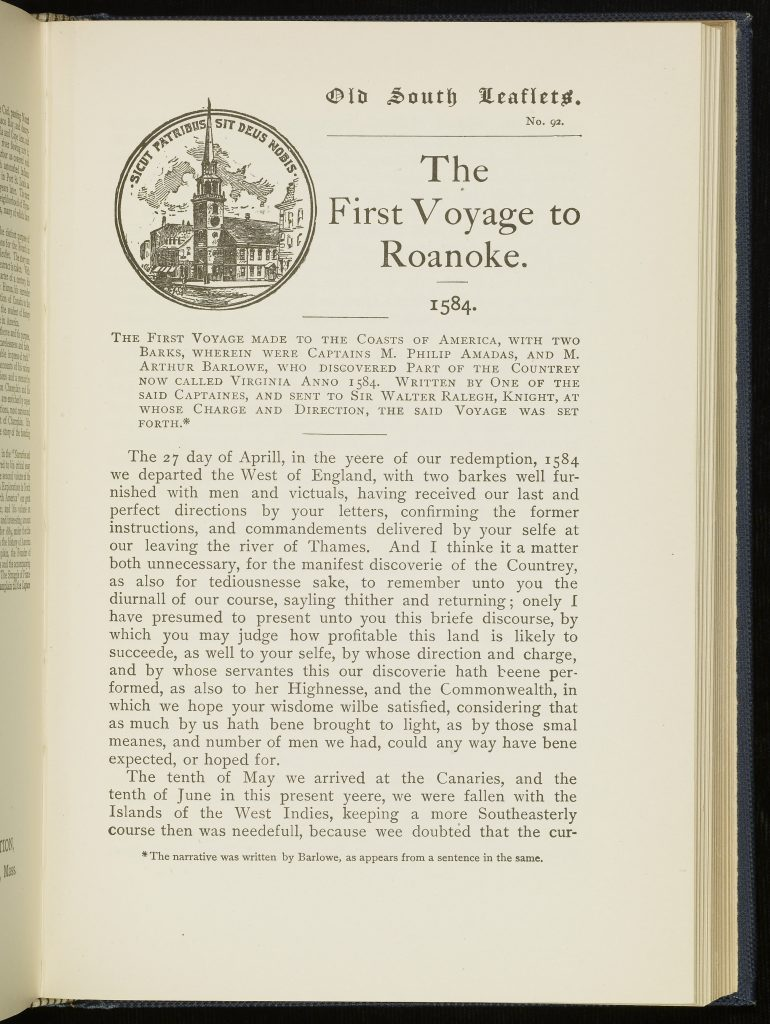 The First Voyage to Roanoke. 1584.