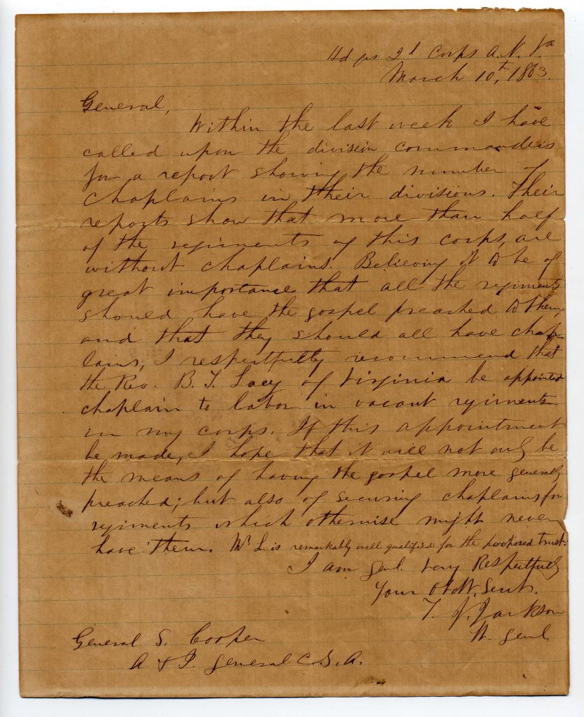 """General Thomas J. """"Stonewall"""" Jackson's request for a chaplain"""