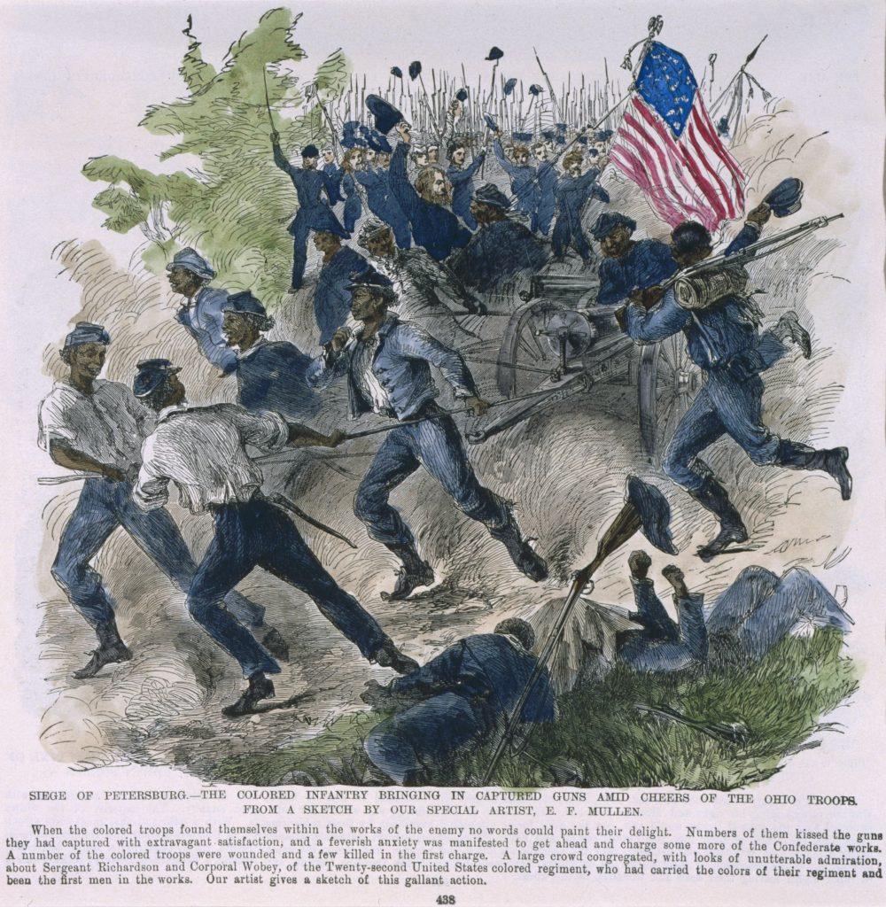 Siege of Petersburg.—The Colored Infantry Bringing in Captured Guns Amid Cheers of the Ohio Troops.