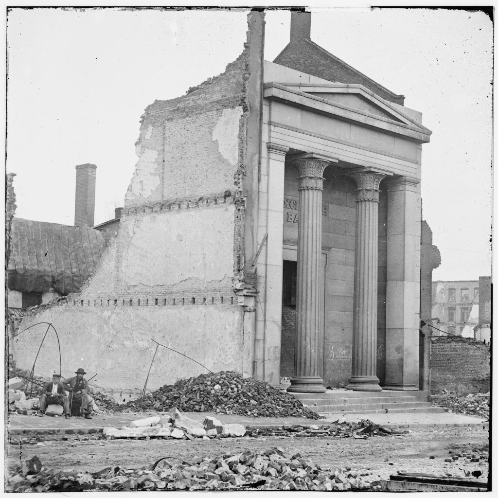 The Exchange Bank Amid Rubble