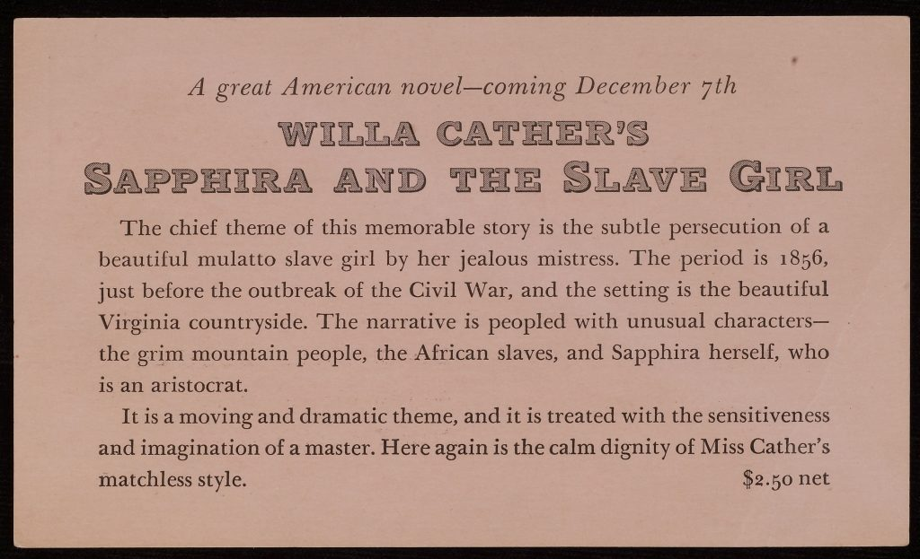 An advertisement for Sapphira and the Slave Girl