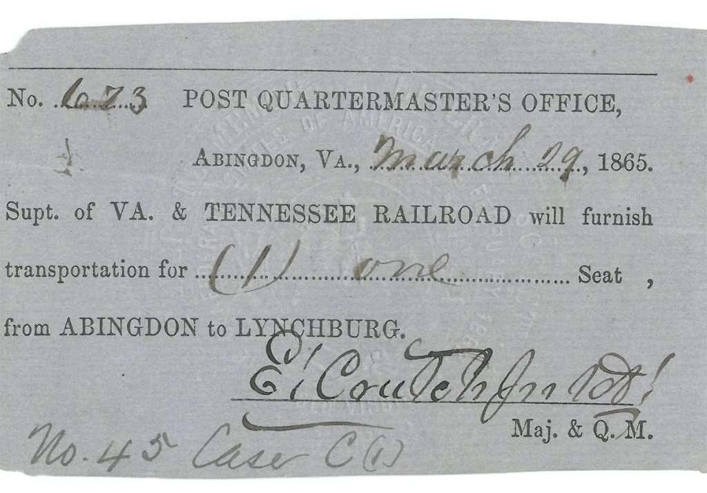 Virginia & Tennessee Railroad Ticket