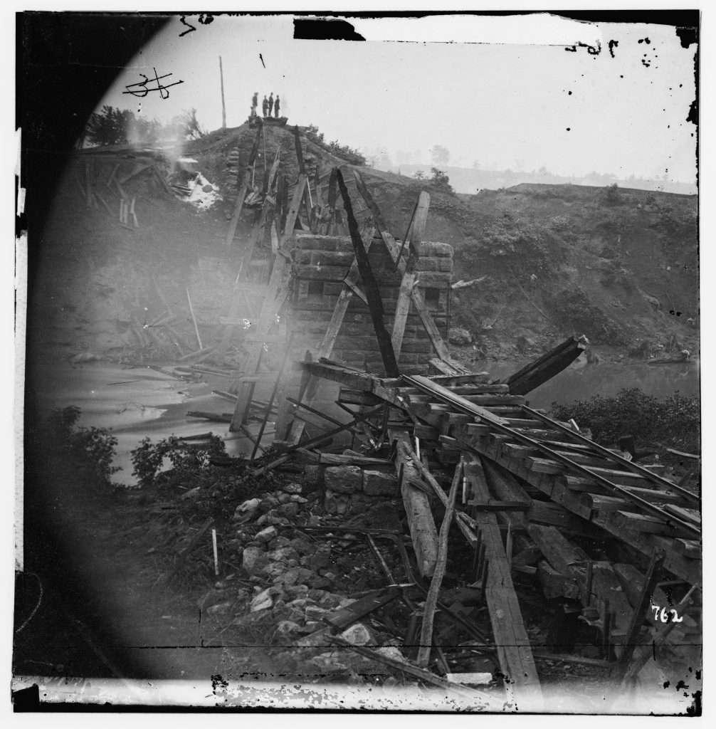 Demolished railroad bridge