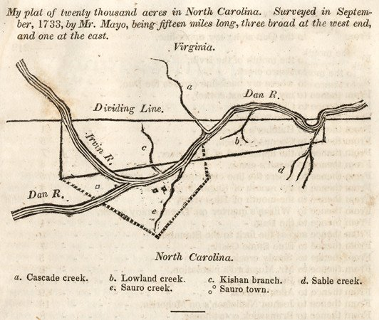 Plat of North Carolina Land Owned by William Byrd II