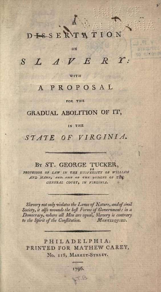 A Dissertation on Slavery (1796)