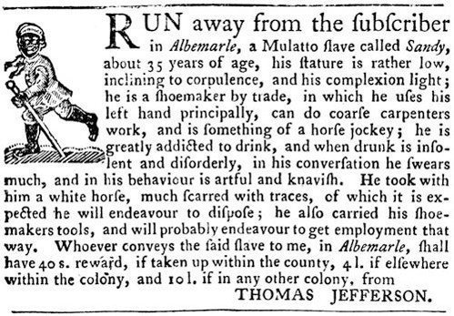 Thomas Jefferson Advertises for Runaway Slave