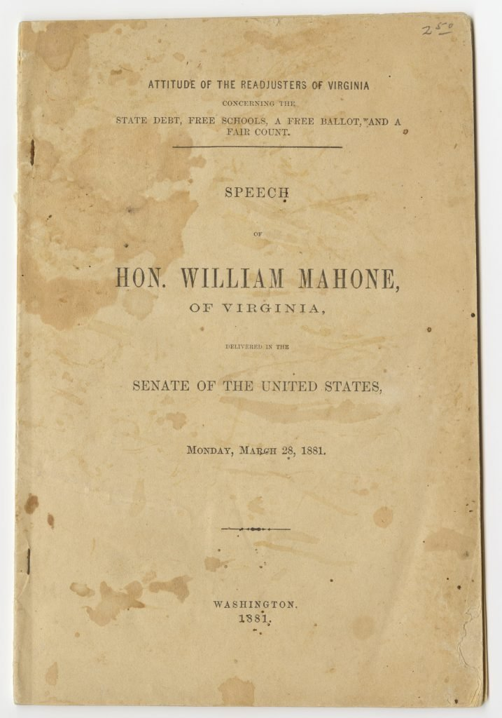 U.S. Senate Speech by William Mahone