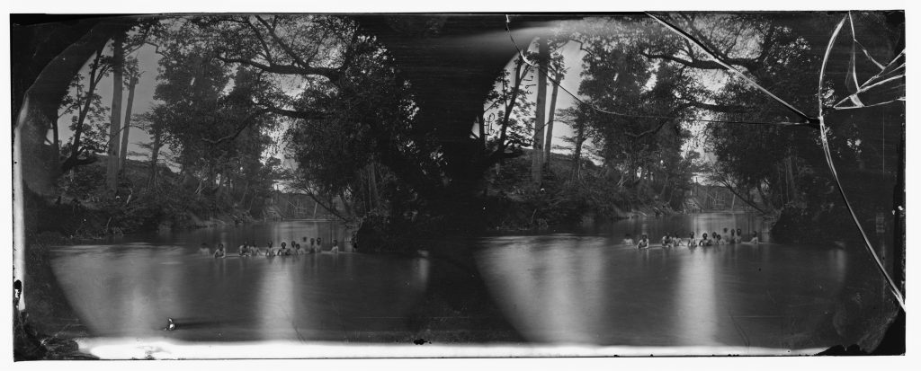 Union soldiers bathing in North Anna River
