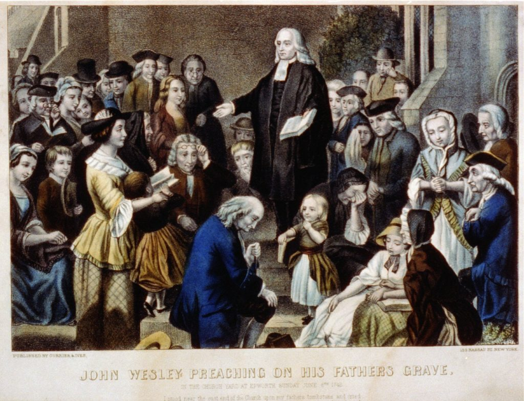 John Wesley Preaching On His Fathers Grave