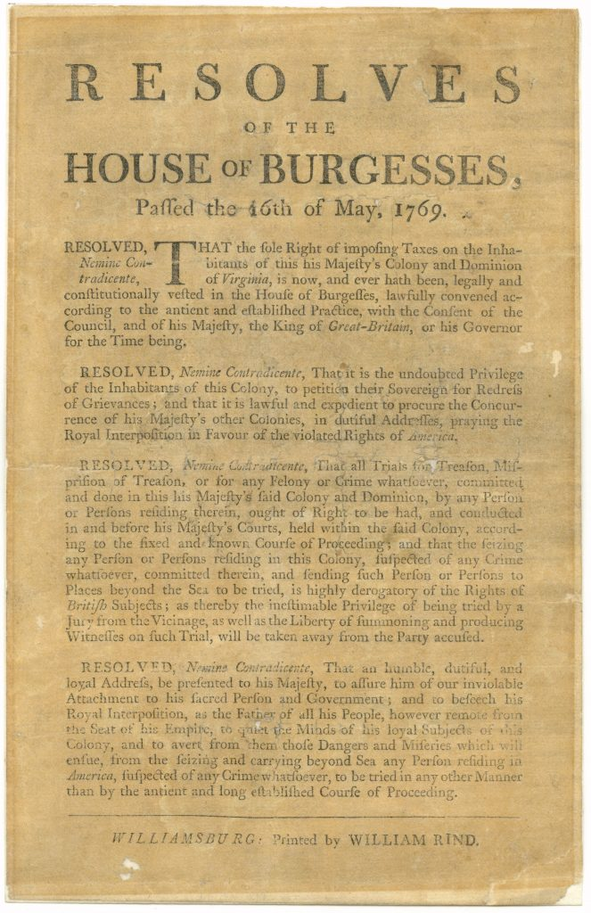 Resolves of the House of Burgesses